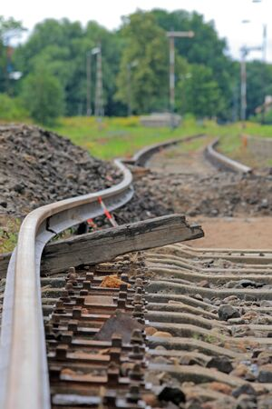 derail: Bended flexible rail during the track modernization Stock Photo