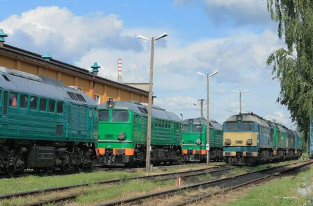 diesel locomotives: Diesel locomotives standing on the depot tracks