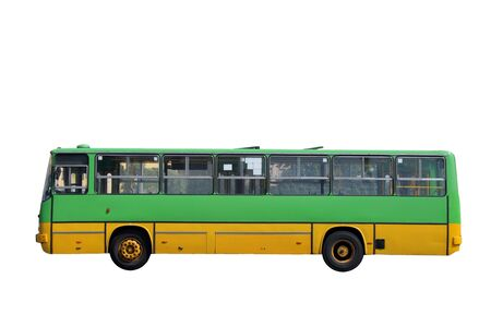 Green bus isolated on white background Stock Photo