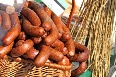 Traditional polish sausage known as kielbasa at the market