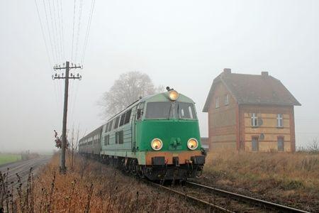 telegraphy: Passenger train passing through countryside