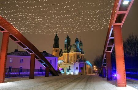 Old town architecture during the winter night in Poznan, Poland