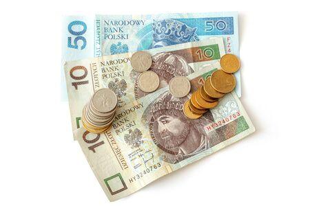 Polish money isolated on white background photo