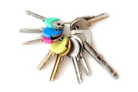 Bunch of keys isolated over white background