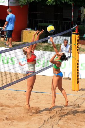 Gizycko, Poland - july 30: - final match of the Simplus Cup 2009 women beach volleyball: Joanna Wiatr and Katarzyna Urban against Karolina Sowala and Monika Brzostek july 30, 2009 in Gizycko, Poland