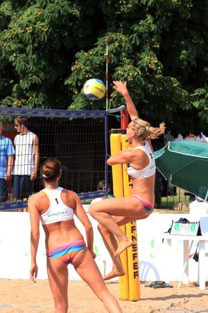 Gizycko, Poland - july 30: - final match of the Simplus Cup 2009 women beach volleyball: Joanna Wiatr and Katarzyna Urban against Karolina Sowala and Monika Brzostek july 30, 2009 in Gizycko, Poland