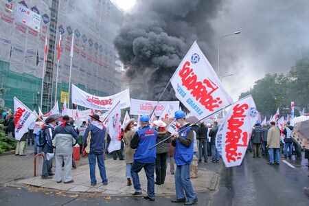 Poznan, Poland - october 23: around 3.000 polish Solidarnosc workers from H.Cegielski heavy industry factory and shipyards from whole country go on manifestation over pay, unemployment and work conditions