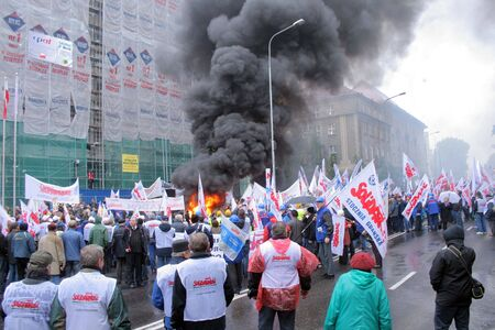 poznan: Poznan, Poland - october 23: around 3.000 polish Solidarnosc workers from H.Cegielski heavy industry factory and shipyards from whole country go on manifestation over pay, unemployment and work conditions