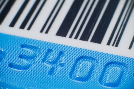 Macro close-up of plastic credit card