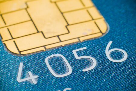 Macro close-up of plastic credit card micro chip photo