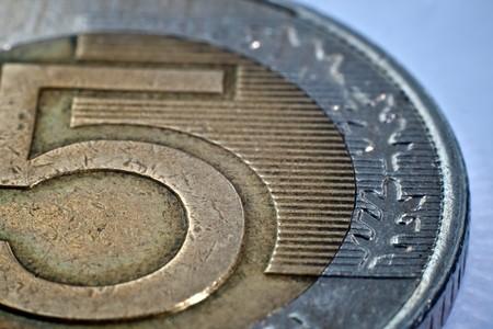 Macro close-up of polish zloty coin
