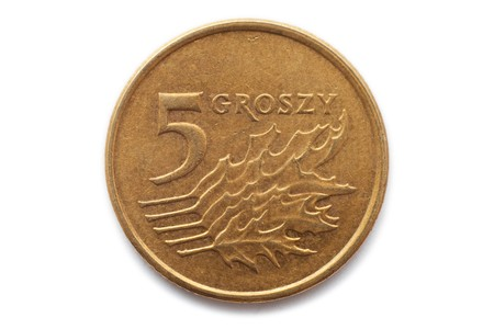 Macro close-up of polish 5 groszy coin photo