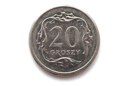 Macro close-up of polish 20 groszy coin photo