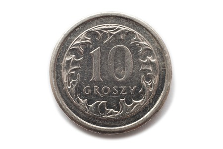 Macro close-up of polish 10 groszy coin photo