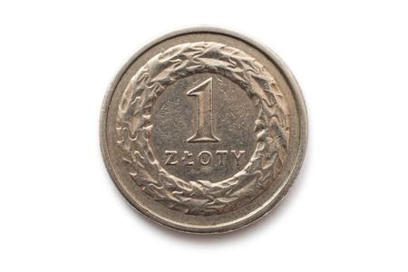Macro close-up of polish 1 zloty coin