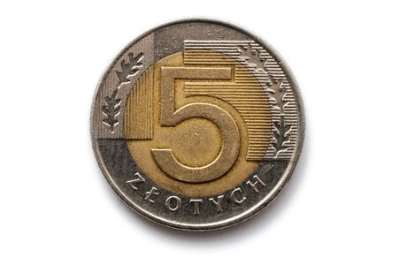 Macro close-up of polish 5 zloty coin