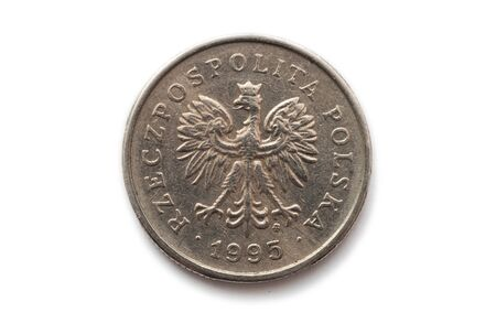 Macro close-up of reverse of polish coin photo