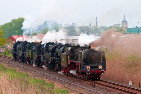 steam locomotives: Retro steam locomotives parade in Poland