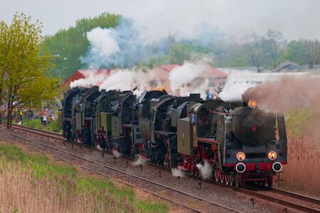 Retro steam locomotives parade in Poland photo