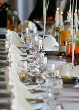 Table setting at a luxury wedding reception Stock Photo