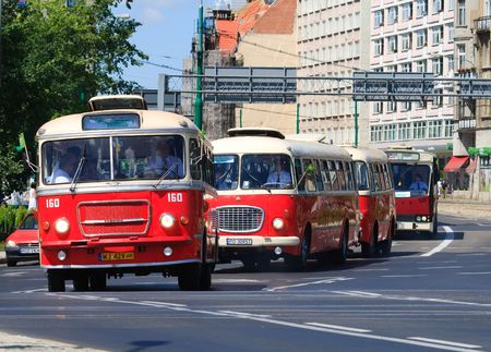 POZNAN, POLAND - APRIL 10, 2010 celebration of the 130th anniversary of MPK Poznan sp. z o.o. combined with a solemn parade of the vehicles. Both buses and tramways were put in ordered cue from the oldest to the newest starting from the horse tramway (188