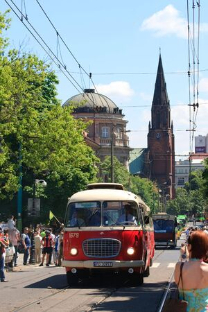 POZNAN, POLAND - JUNE 26, 2010 celebration of the 130th anniversary of MPK Poznan sp. z o.o. combined with a solemn parade of the vehicles. Both buses and tramways were put in ordered cue from the oldest to the newest starting from the horse tramway (1880