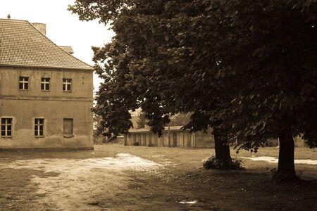 herrenhaus: Vintage Herrenhaus, Kopfsteinpflaster und ein B�ume  Lizenzfreie Bilder