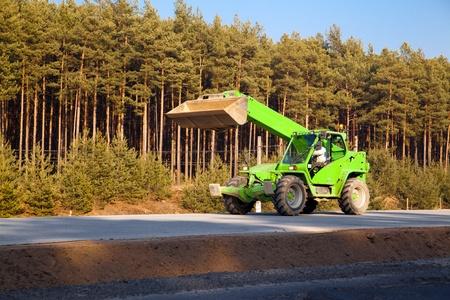 Industrial road works under the new motorway