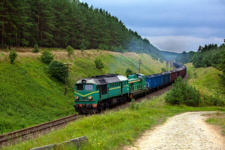 diesel locomotives: Freight train hauled by the diesel locomotives passing the forest Stock Photo