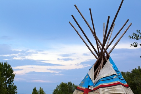 wigwam: Wooden wigwam against the blue sky Stock Photo