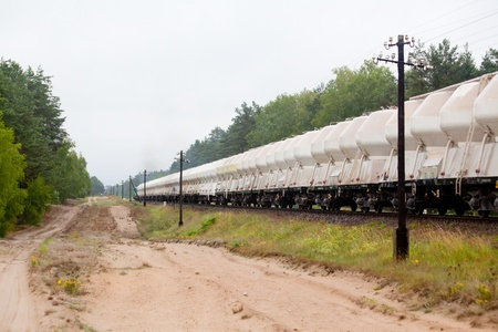 diesel locomotives: Freight train hauled by the diesel locomotives passing the forest