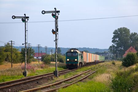 diesel locomotives: Freight train hauled by the diesel locomotives stopped on the station