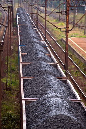 Coal train passing through the station