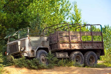 Old vintage military truck stuck in the bushes photo
