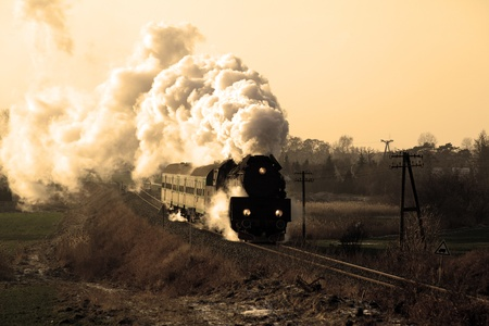 Vintage steam train passing through countryside, wintertime Stock Photo - 12449843