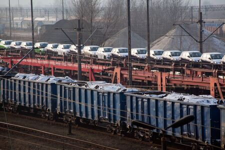 Freight trains with different cargo on the station Stock Photo - 12947350