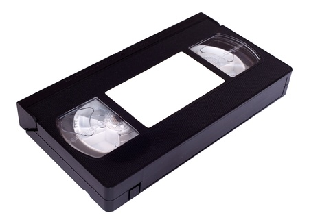 videocassette: Casete VHS con etiqueta wite aislado en blanco Foto de archivo