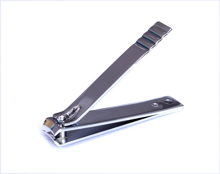 A steel nail clippers on white background   photo