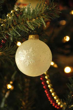 Christmas ornament and bead garland Stock Photo