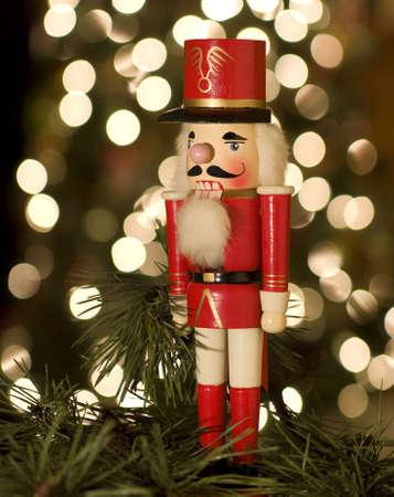 Nutcracker by Christmas tree