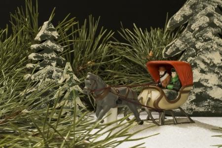 Horse drawn sleigh winter still life