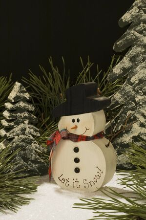 Painted snowman winter scene, space for copy Stock Photo