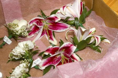 Delivery of wedding flowers Stock Photo