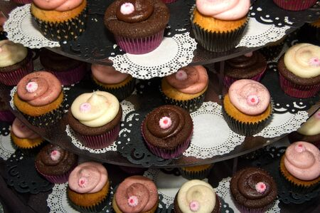 Delicious cupcake tower Stock Photo