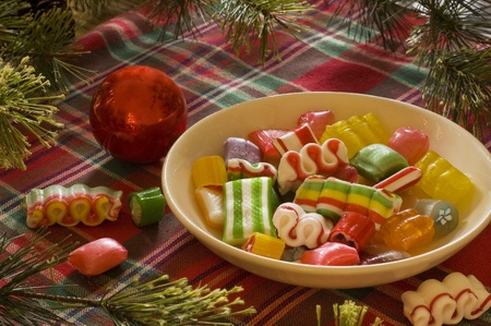 Christmas candy table scene