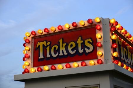 Lighted ticket booth Stock Photo