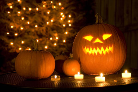 ghoulish: Halloween scene with Jack O Lantern Stock Photo