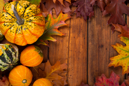 thanksgiving background: autumn pumpkins surrounded by leaves Stock Photo