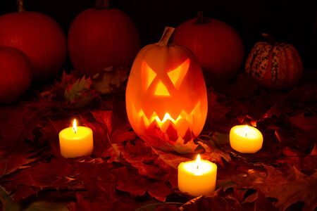 glowing carved: Halloween pumopkin with autum leaves
