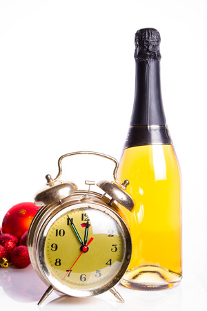Old clock and champagne photo